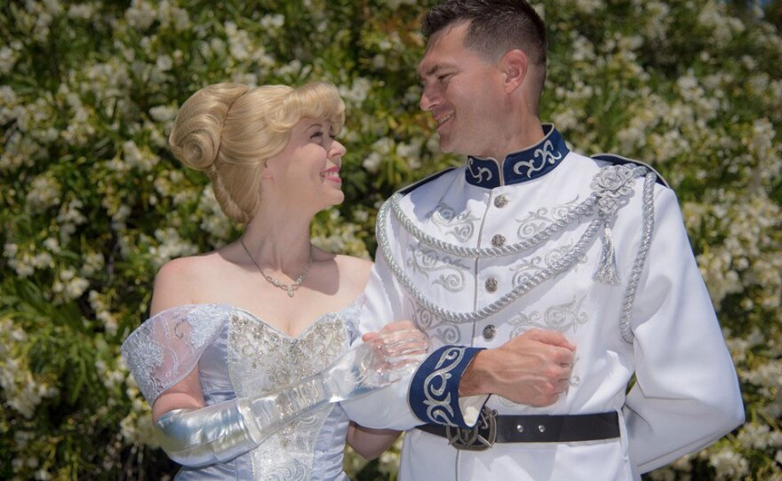 Mandy Pursley and her husband, Ryan, as Cinderella and Prince Charming in this undated photo.