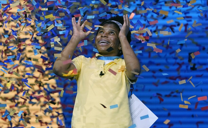 Zaila Avant-garde, 14, from Harvey, La., is covered with confetti as she celebrates winning the finals of the 2021 Scripps National Spelling Bee at Disney World Thursday, July 8 in Lake Buena Vista, Fla.