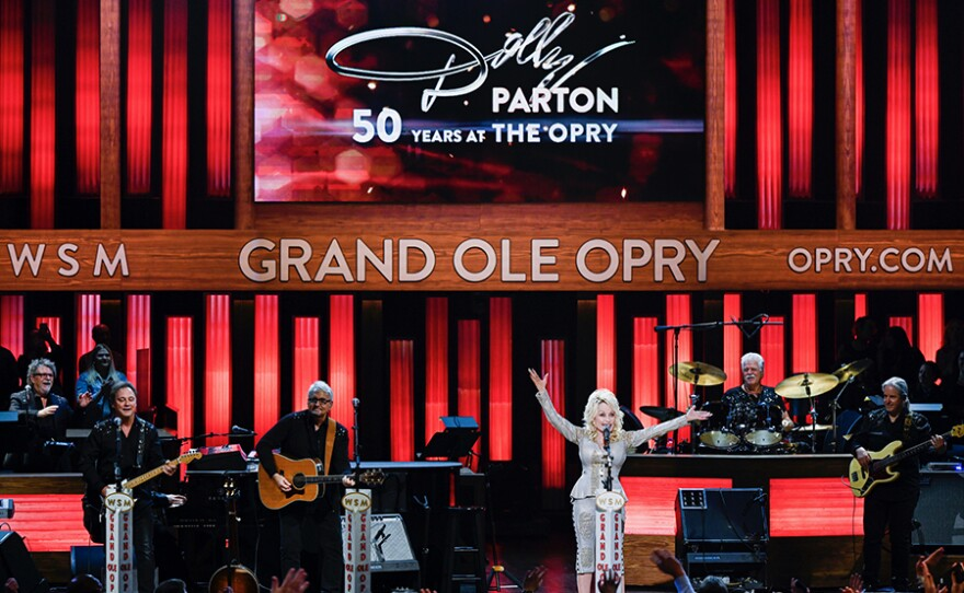 Dolly Parton celebrates 50 years as a member of the Grand Ole Opry by performing some of her biggest hits on one of the world's most iconic stages. (undated photo)