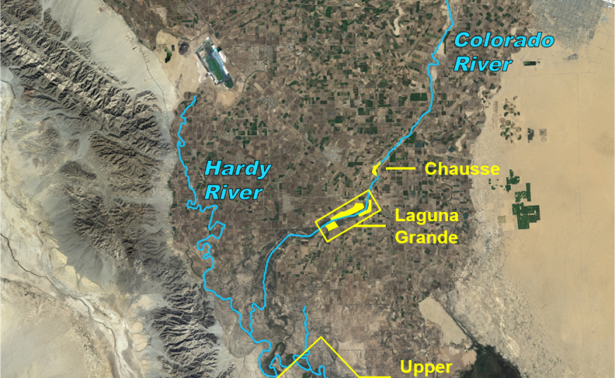Above: Water designated for the environment under a U.S.-Mexico agreement signed in September, 2017, will be targeted at discrete restoration sites in the Colorado River delta in this undated image.
