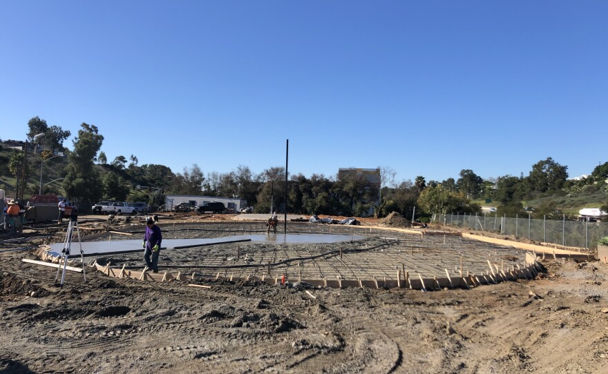 Located at 6060 Federal Blvd., the Derby United outdoor facility will have one banked rink and one flat track. Concrete was being poured earlier this week. Dec. 17, 2019