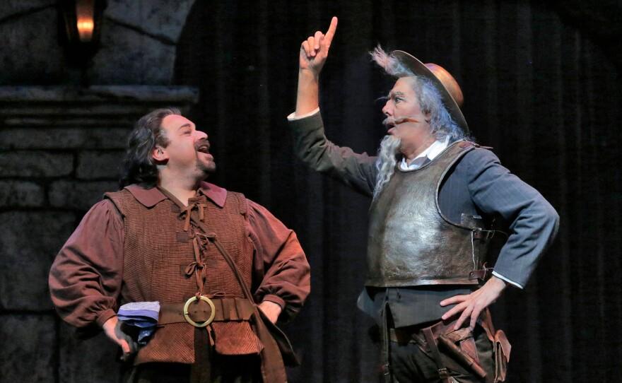 """Bass-baritone Eduardo Chama is Sancho Panza and bass Ferruccio Furlanetto is Don Quixote in San Diego Opera's """"Don Quixote."""""""