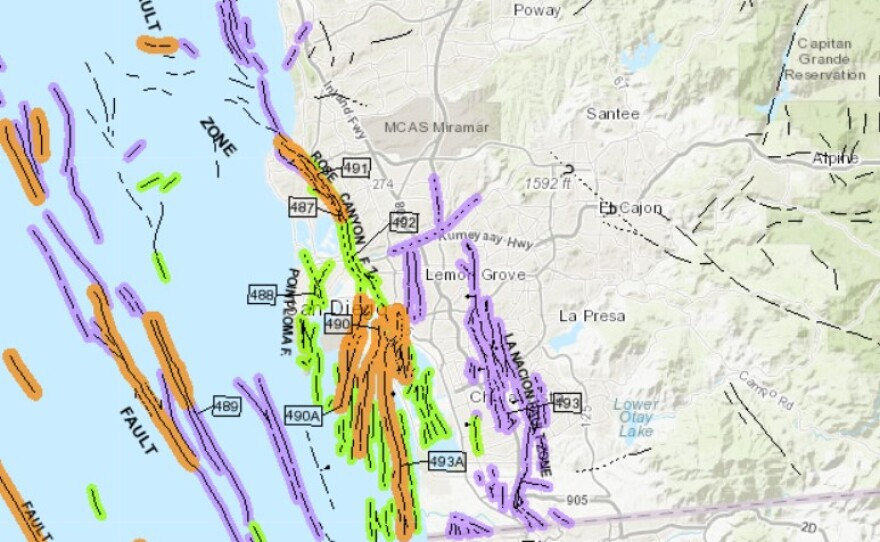 Fault lines across San Diego county are shown on the state's Fault Activity Map of California, Sept. 23, 2021.