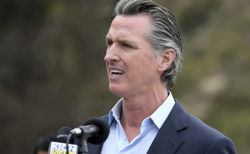 In this April 23, 2021, file photo, California Gov. Gavin Newsom speaks during a press conference in Big Sur, Calif.