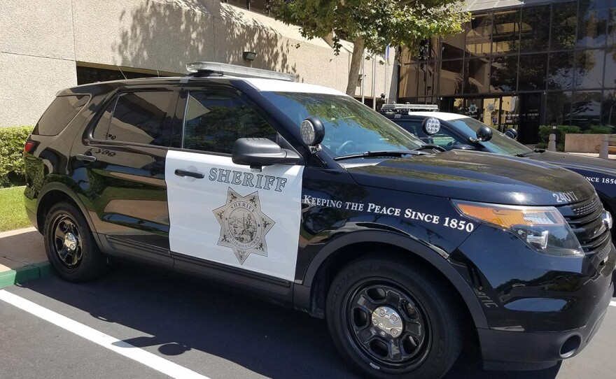 A San Diego County Sheriff's vehicle parked at the department's administration center, San Diego, August 13, 2018.