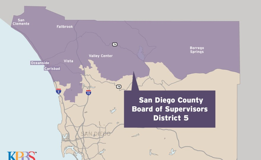 A map shows San Diego County Board of Supervisors Dictrict 5, May 2018.