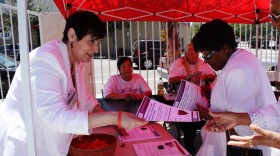 Elizabeth Bustos hands out materials to promote disease prevention at a fair outside Immanuel Chapel Christian Church, which held a celebration of women in July 2015.