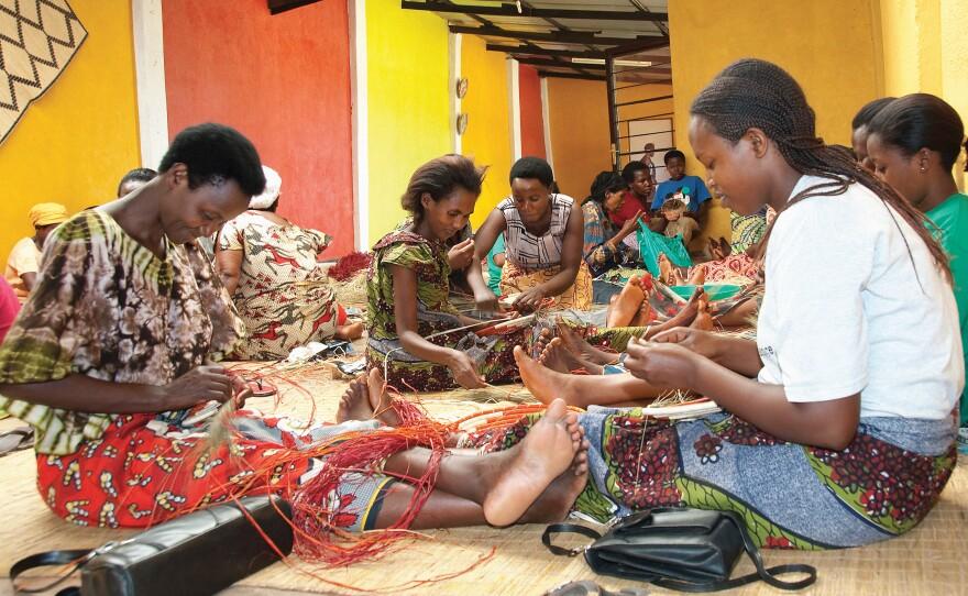 Members of the Gahaya Links Cooperative at their Kigali workshop weaving baskets, Rwanda, 2007. Empowering Women: Artisan Cooperatives That Transform Lives