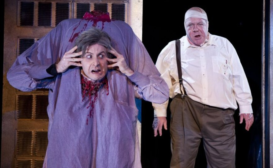 """Jesse Merlin loses his head as Dr. Hill and George Wendt is Dean Halsey in """"Re-Animator: The Musical."""""""