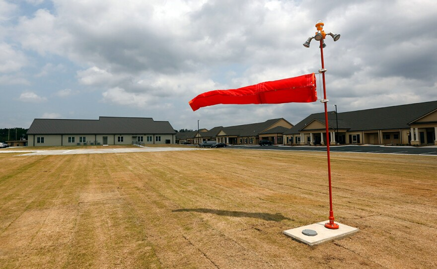 A wind sock waves in the wind in this file photo taken on Friday, April 28, 2017.