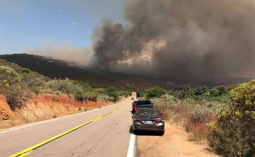 Smoke plumes from the Valley Fire viewed from Japatul Road facing East, southeast of Alpine in San Diego County. Sept. 6, 2020.