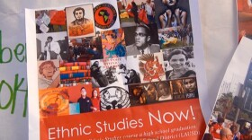 A poster with images of people and leaders from different ethnic backgrounds was displayed at a Lincoln High School meeting of San Diego teachers who back promoting ethnic studies in schools, May 19, 2015.