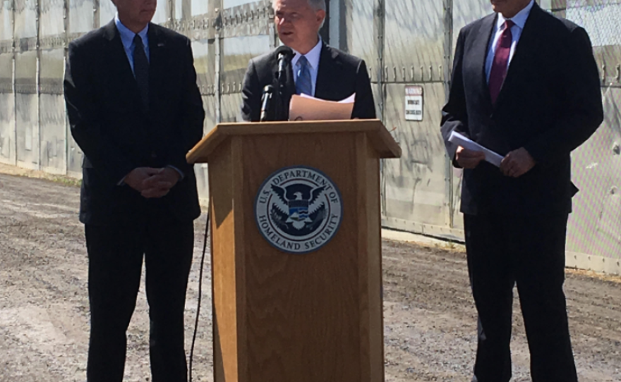 U.S. Attorney General Jeff Sessions and Secretary of Homeland Security John Kelly visit the San Diego-Tijuana border, April 21, 2017.