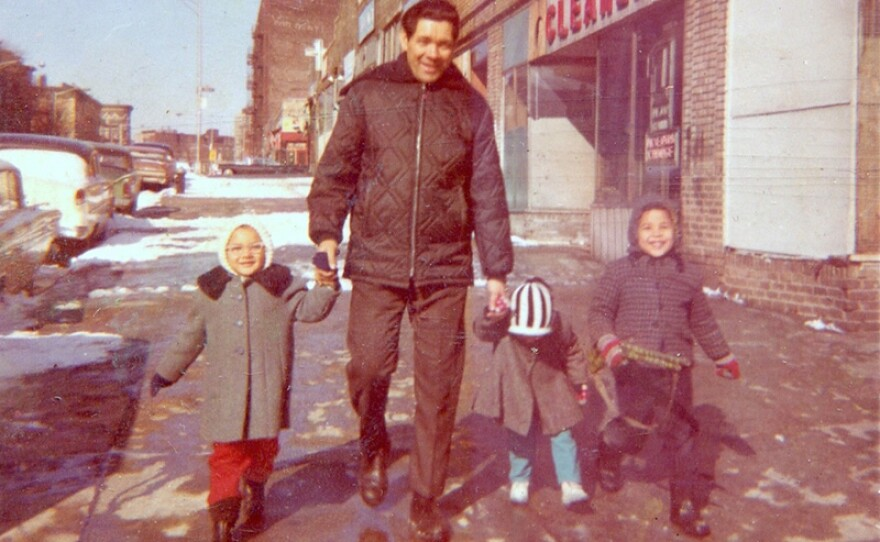 Vivian, her dad and siblings on Leggett Avenue, 1968, Bronx, NY.