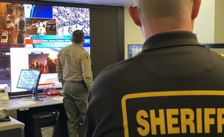 Los Angeles County Sheriff's Department monitoring the protests in Los Angeles on May 30, 2020.