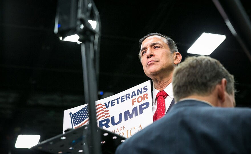 Rep. Darrell Issa, R-Vista, attends a Donald Trump rally at the San Diego Convention Center May 27, 2016.