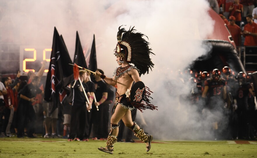 San Diego State mascot the Aztec Warrior comes onto the field before an NCAA college football game against Boise State Saturday, Oct. 14, 2017.