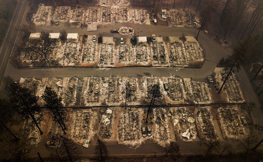 Residences were leveled by the wildfire in Paradise, Calif., on Thursday, Nov. 15, 2018.