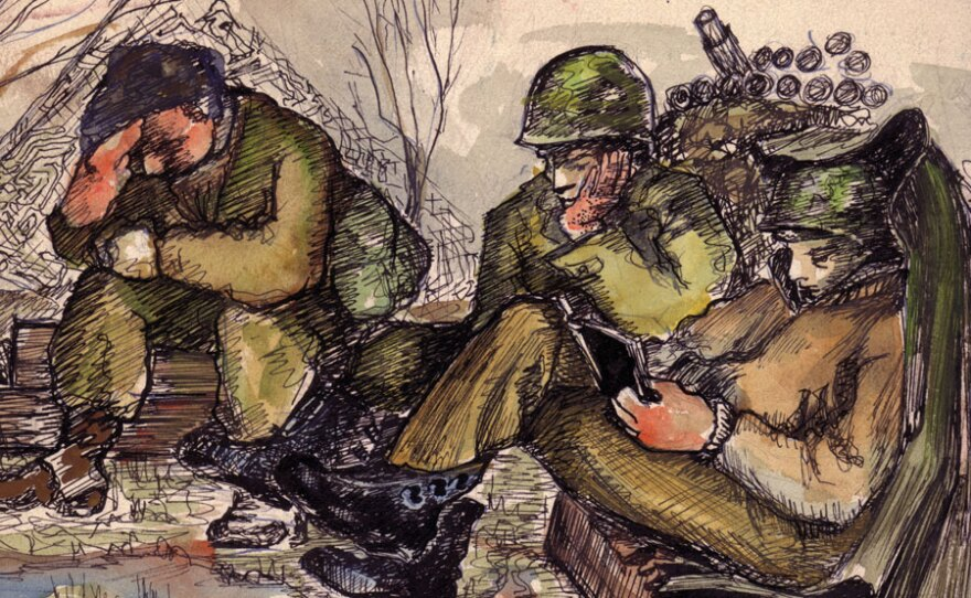 A painting by John Jarvie captures the exhaustion of his comrades. Many of the Ghost Army soldiers were artists who used stolen moments of spare time to paint and sketch.