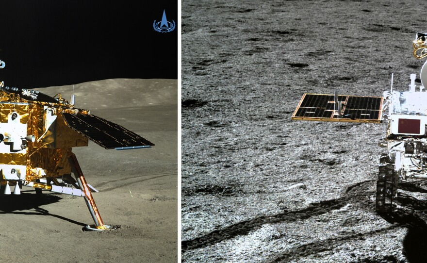 (Left) The rover Yutu-2 (Jade Rabbit-2) took this photo of the Chang'e-4 probe's lander, and (right) the Chang'e-4 probe's lander took this photo of the rover Yutu-2 (Jade Rabbit-2), on Jan. 11.