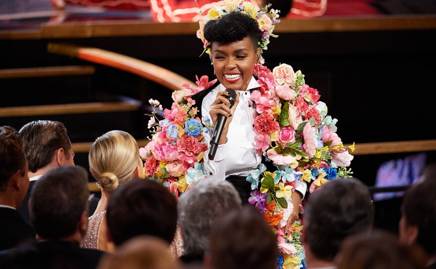 """Janelle Monáe performs (in a costume recalling """"Midsommar,"""" a film completely ignored by the Oscars) during the live ABC telecast of the 92nd Oscars® at the Dolby® Theatre in Hollywood, CA on Sunday, February 9th, 2020."""