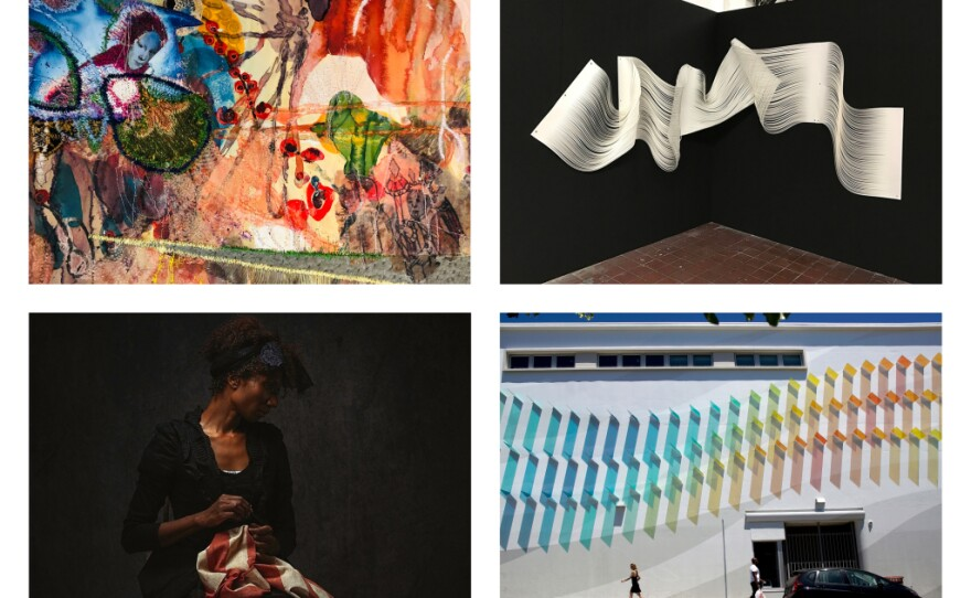 Clockwise from top left: work by Griselda Rosas, Melissa Walter, Kaori Fukuyama and Alanna Airitam, this year's finalists for the San Diego Art Prize.
