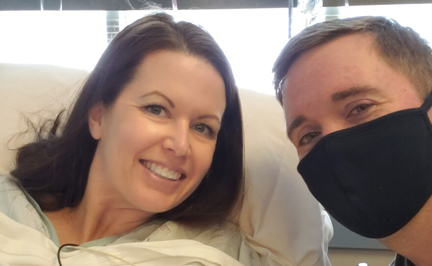 Parrish Glass and her husband Carl reunite after an egg retrieval procedure as part of their in vitro process, Sept. 16, 2020.