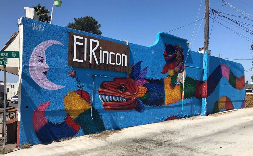 A mural by artist Michelle Guerrero is installed on a restaurant in San Ysidro, pictured on September 25, 2020.