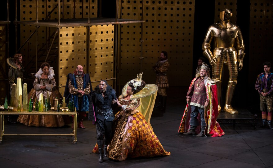 """Grantham Coleman (center) is Hamlet and Opal Alladin plays his mother Gertrude in """"Hamlet."""""""