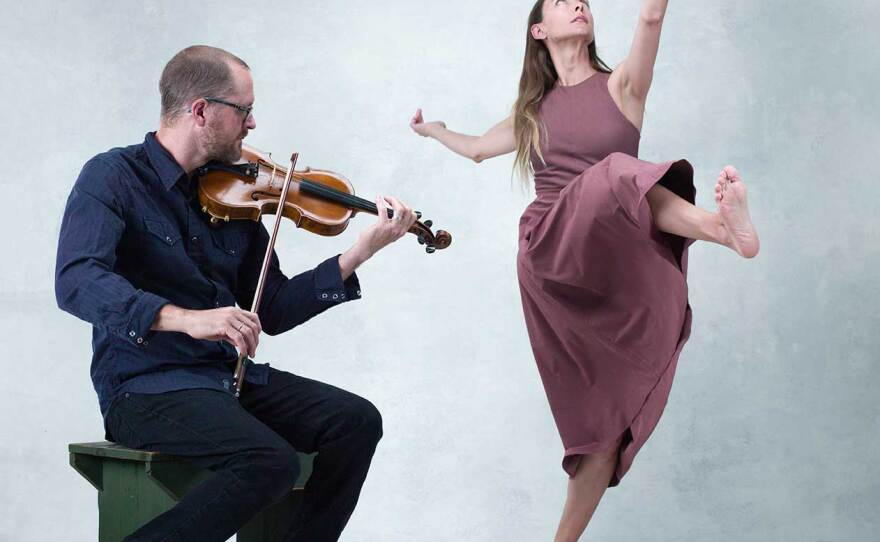 """Dancer Erica Ruse and musician Pete Polansky perform Rebecca Margolick's piece """"Taoide"""" in an undated photo."""