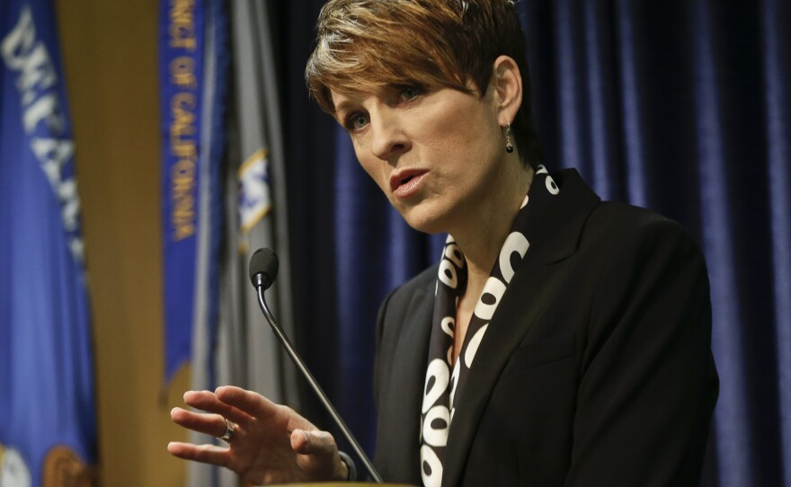 Former U.S. Attorney Laura Duffy speaks at a news conference, Feb. 6, 2014.