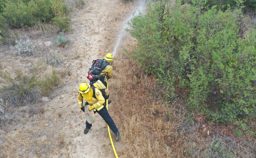 Firefighters with Cal Fire San Diego practice a progressive hose lay during training.