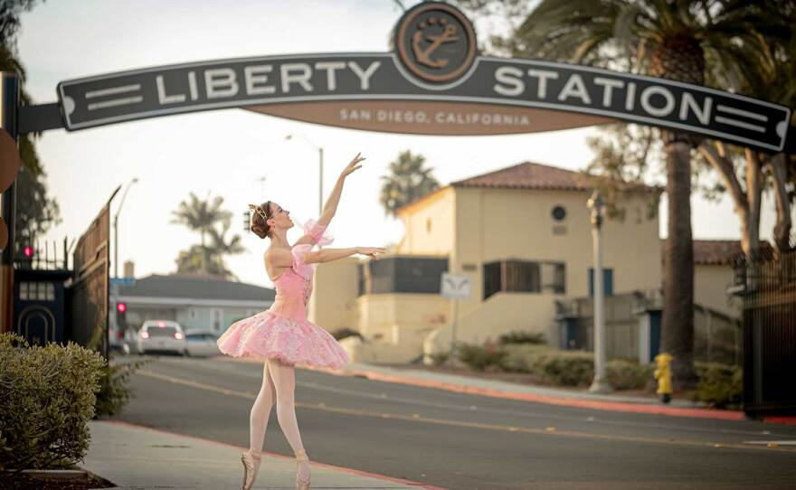 """The San Diego Ballet will present """"The Nutcracker"""" as live drive-in performances at Liberty Station this holiday season. The company's Sugar Plum Fairy is pictured in an undated photo."""