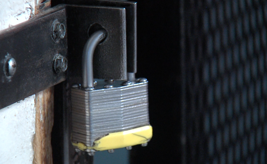 The lock on a door where new residents of the rehabilitation center DAR are kept, May 1, 2015.