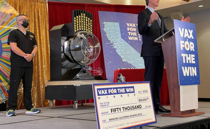 Gov. Gavin Newsom at the drawing in Sacramento for the first 15 winners in Vax for the Win incentive program, June 4, 2021.