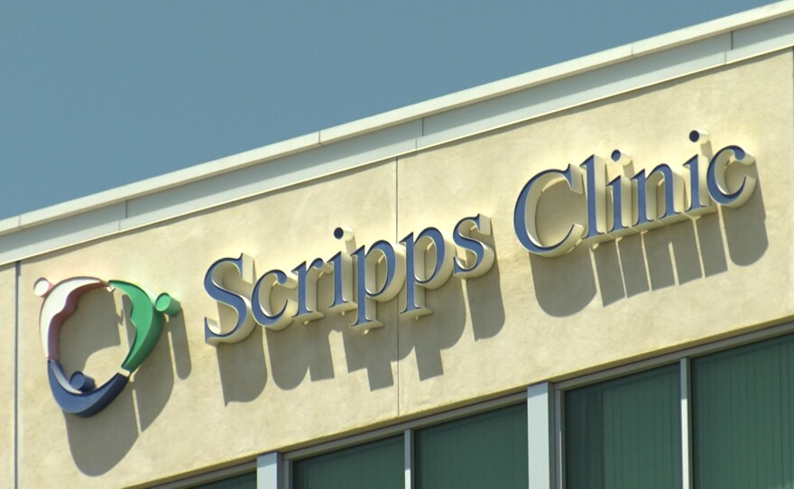"A ""Scripps Clinic"" sign in Rancho Bernardo, May 3, 2021."