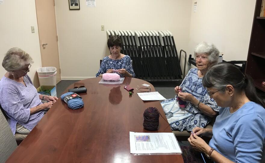 Seniors enjoy a knitting group at the Ed Brown Senior Center at Rancho Bernardo in San Diego on August 27, 2019.