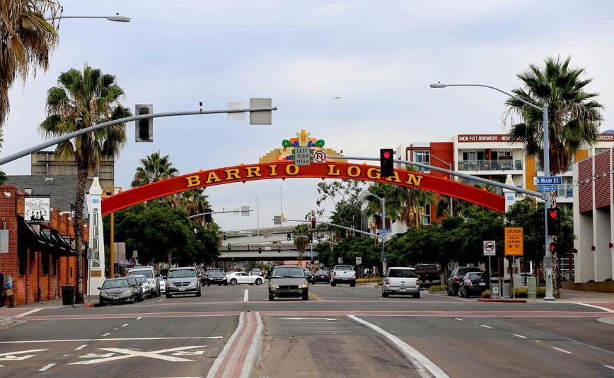 The Barrio Logan community sign near the Cesar Chavez Campus, Oct. 28, 2015.