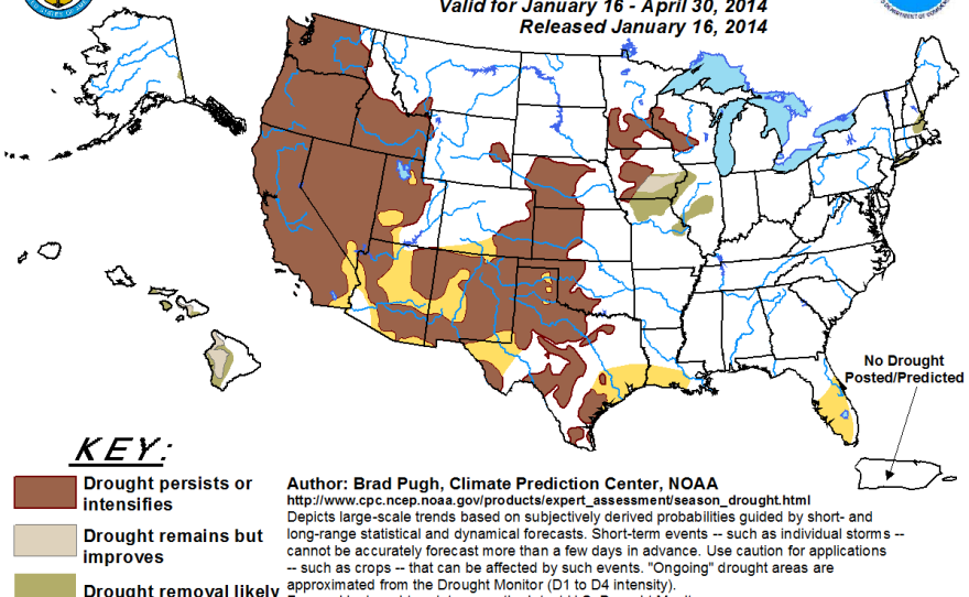 This map released Jan. 16, 2014 shows the U.S. seasonal drought outlook for January through April of this year.