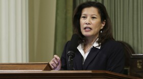 California Supreme Court Chief Justice Tani G. Cantil-Sakauye delivers her annual State of the Judiciary address before a joint session of the Legislature at the Capitol in Sacramento, Calif, March 23, 2015.