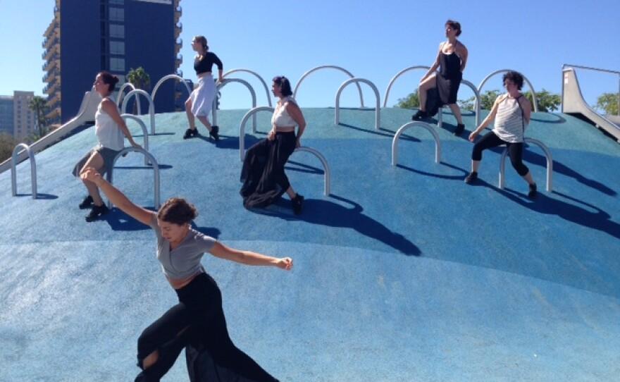 "Dancers perform Liv Isaacs-Nollet's ""Blue Stillness,"" one of the six pieces of Trolley Dances 2015, Sept. 26, 2015."