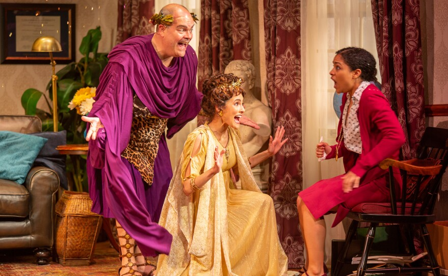 """Brad Oscar as Dionysus, Jessie Cannizzaro as Thalia, and Shay Vawn as Daphne in Ken Ludwig's """"The Gods of Comedy,"""" running through June 16 at The Old Globe."""
