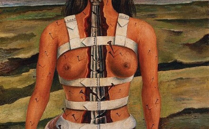"""The original Kahlo self-portrait titled """"The Broken Column."""" Kahlo painted it in 1944 shortly after undergoing spinal surgery."""
