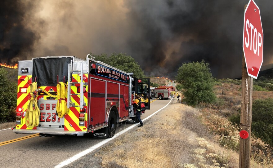 San Diego Firefighters battle the Valley Fire which scorched more than 16,000 acres on  Sep 6, 2020.