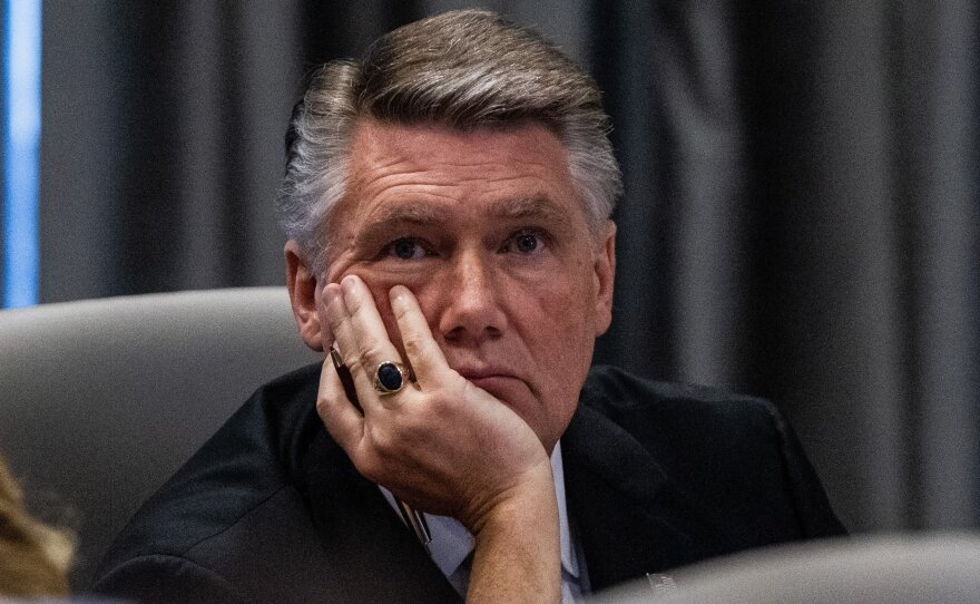 Mark Harris, the Republican candidate in North Carolina's 9th Congressional race, listens to testimony during a State Board of Elections hearing on Tuesday.