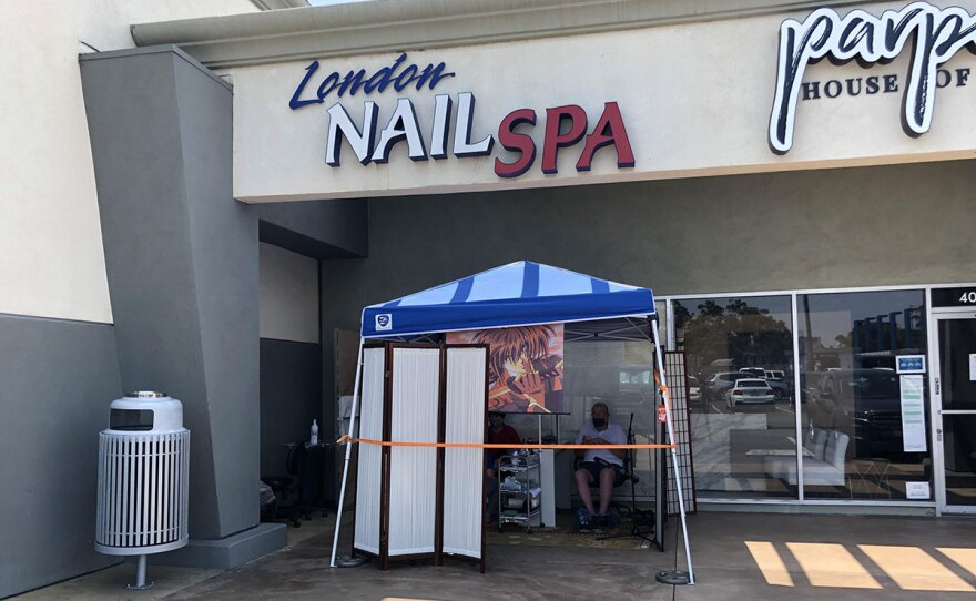 The exterior of London Nails Spa in Point Loma on Aug. 8, 2020.