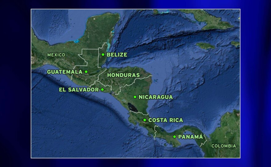 A map shows Mexico and the countries in Central America — Guatemala, Belize, Honduras, El Salvador, Nicaragua, Costa Rica, Panama and Colombia.
