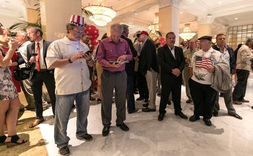 San Diegans gather at the U.S. Grant Hotel on election night, Nov. 8, 2016.