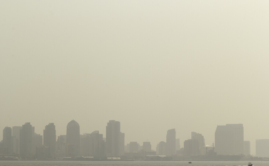 The orange haze covering the San Diego skyline on Sept. 15, 2020, because of smoke from wildfires across California, including the Valley Fire in rural East County.