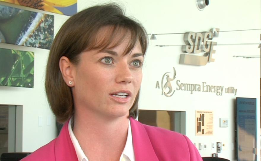 SDG&E spokeswoman Amber Albrecht speaks at the utility company's Energy Innovation Center, Oct. 21, 2015.